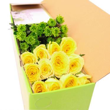 Hộp hoa hồng vàng